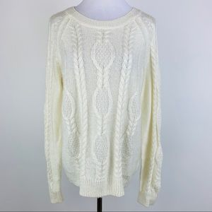 H&M Ivory Cable Sweater sz Large